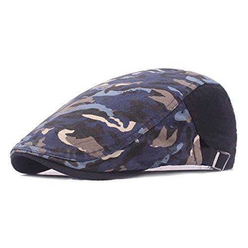 Quanhaigou Mens Newsboy Cap,Womens Military Camouflage Duckbill Ivy Irish Cabbie Scally Berets Hat Blue