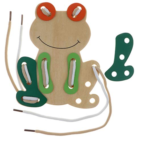 B Blesiya Threading Board Child Kids Toy Lacing Thread Shoestrings Education Tool - Frog, as described ()