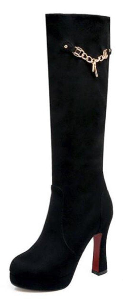 Easemax Damen Schick Mode Langschaft Nubuk Samt High Heels Stiefel Mit Absatz  43 EU Schwarz