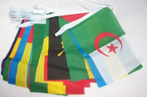 (AZ FLAG 54 African Countries 16 Meters Bunting Flag 54 Flags 9'' x 6'' - 54 Nations of Africa String Flags 15 x 21)