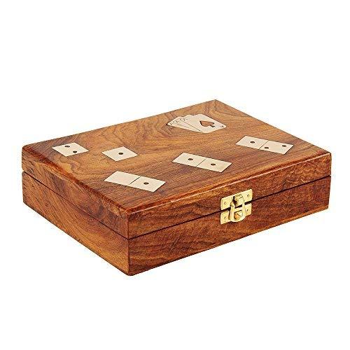 木製Dominoes Game Set 28ダブル6つのタイルwith Playingカードボックスハンドメイドブロックゲームおもちゃアクセサリーfor大人子供用
