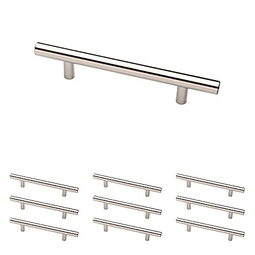 Franklin Brass P01026-SS-B 5-1/16 inch (128Mm) Euro Style Steel Bar Pull Kitchen Cabinet Handle, 10-Pack