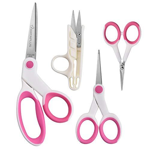 (FANTAPLUS Professional Sewing Scissor Set with Bent Scissor Thread Snip Micro Tip scissor and Embroidery scissor Set 4pcs)