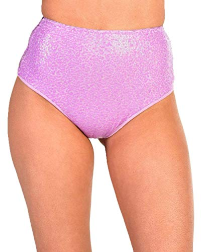 iHeartRaves Dreamland Sequin Booty Shorts (Purple, Large) -