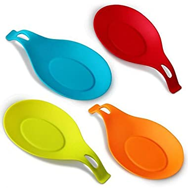 iNeibo Kitchen Silicone Spoon Rest, Flexible Almond-Shaped, Silicone Kitchen Utensil Rest Ladle Spoon Holder Set of 4, (Colorful,Big Size)