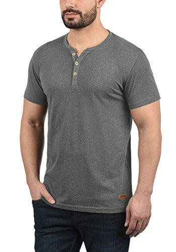 Volker shirt 8236 solid Grandad Grey Corta Básica Con Cuello Para De Camiseta Melange Hombre Manga T Hdq0wC