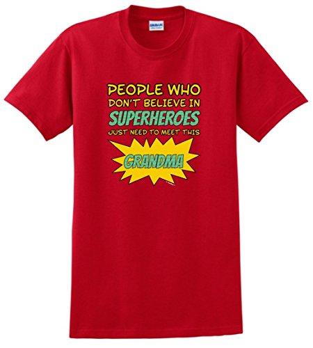 [Superhero Costume People Don't Believe Superheroes Need Meet Grandma T-Shirt 2XL Red] (Funny 2 People Costume)