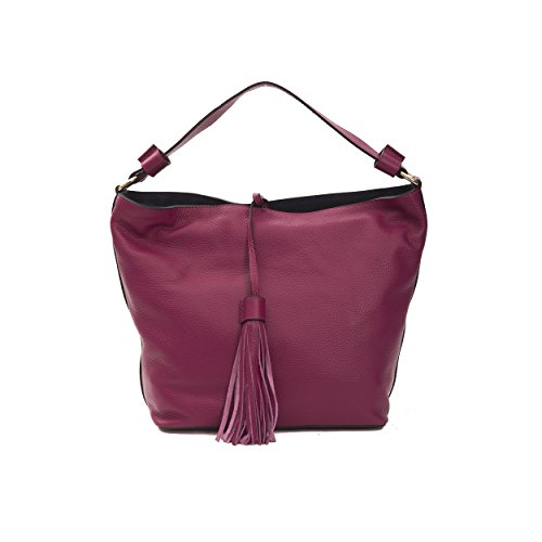 Leather Bag Donatella Red Genuine 5x16 In Dark Cm Pompei 40x32 Hand Woman's ppn7AUY