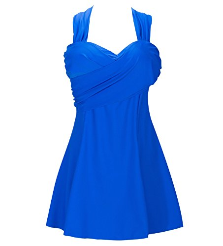 NINEWE Women's 50S Retro Elegant Crossover One Piece Swimdress Swimsuit   Sapphire Blue US14/Asian 6XL