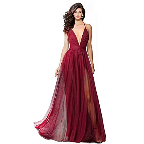 Alluring Deep v-Neckline Spaghetti Straps Criss-Cross Open Back Tulle Dual Front Slits Evening Prom Formal Dress (Wine, S)