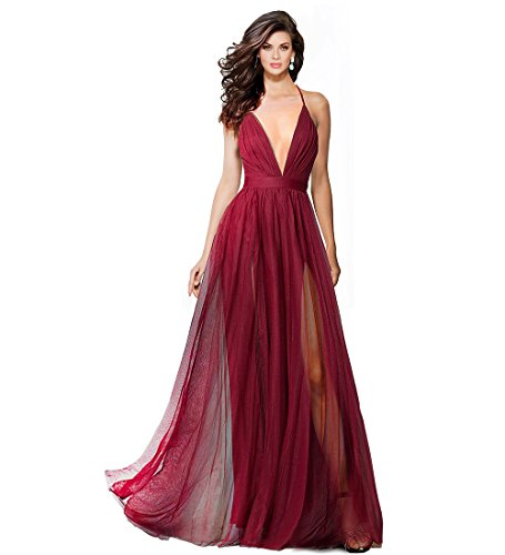 (Alluring deep v-Neckline Spaghetti Straps Criss-Cross Open Back Tulle Dual Front Slits Evening Prom Formal Dress (Wine,)