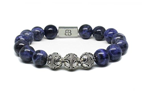 Sodalite Bracelet, Men's Sodalite and Sterling Silver Bracelet, Men's Designer Bracelet by Kartini Studio