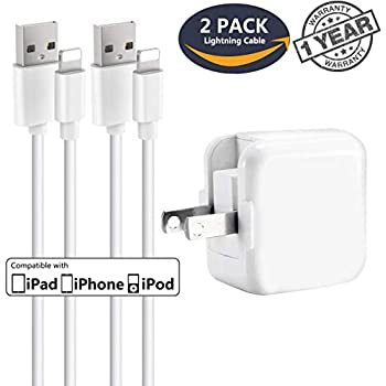 iPhone Charger iPad Charger,Baoota 2.4A 12W USB Wall Charger Foldable Portable Travel Plug and 2 Pack 8 Pin Charging Cable Compatible with iPhone,iPad