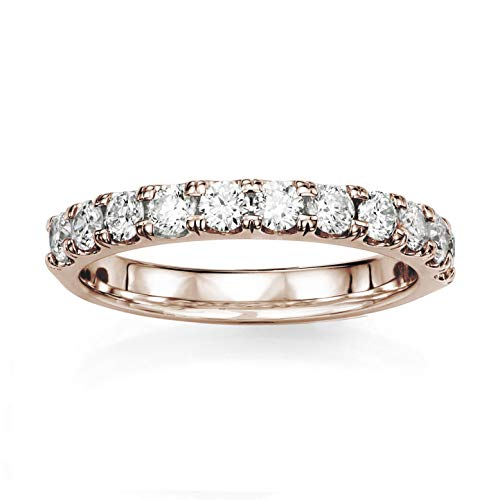 14KT Rose Gold 1/3 ct G-H SI1/SI2 Machine Set Wedding Rings ()