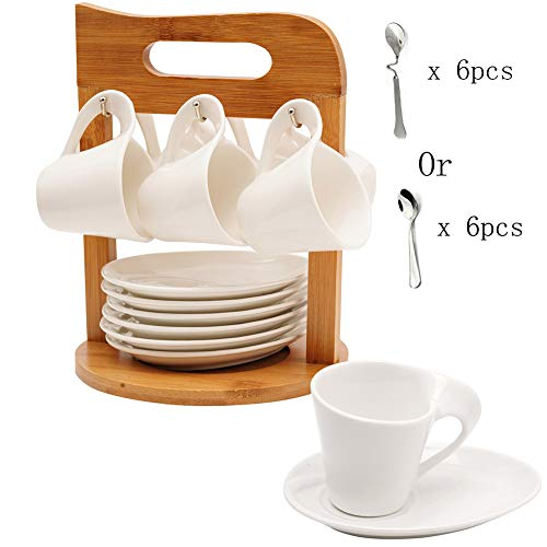 - Ceramic Coffee Espresso Cups and Saucers Porcelain Coffee Tea Cup Mug Set of 6 with Bamboo Rack Stand for Home and Office with 6 Bonus Spoons White by SOPRETY