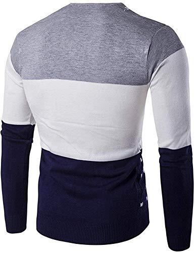 Shining4U Mens Slim Color Block Warm Knit Wool Pullover Sweater,Medium,Gray