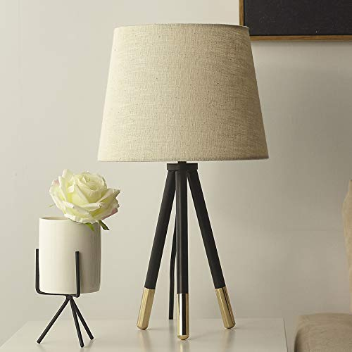 "Tripod Table Lamp Contemporary Bedside Nightstand Tripod Table Lamp Desk Lamp Reading Light,17"" H with Linen Shade"
