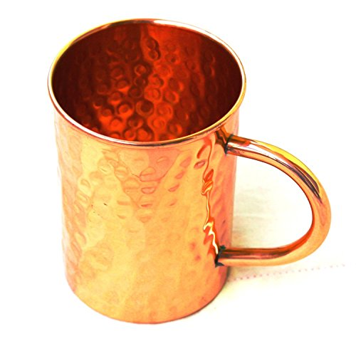 BLUE NIGHT Hammered Copper Moscow Mule Mug Handmade of 100% Pure Copper, Drinkware Accessories Hammered Copper Moscow Mule Mug Capacity-16 Oz. (1)