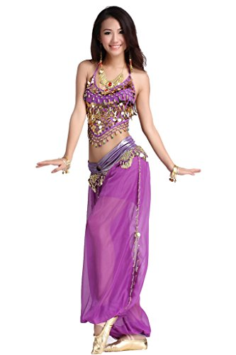 ZLTdream Lady's Belly Dance Chiffon Banadge Top and Lantern Coins Pants Purple, One Size