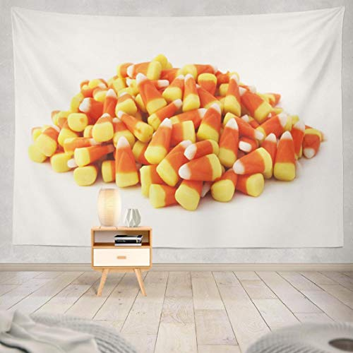 Hdmly Halloween Tapestry, Decorative Wall Tapestry Halloween Candy White Bag Eating Factory Food 60x80 Inch Tapestry Wall Art for Men Kids Home Decor Bedroom Living Room Dorm Tapestry Wall Hanging (Difference Between Light And Dark Corn Syrup)