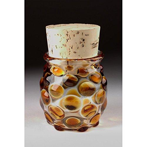 Blown Glass Large Polka Dot Jar - Amber (Glass Jar Hand Blown)