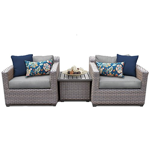 TK Classics FLORENCE-03a-GREY 3 Piece Outdoor Wicker Patio Furniture Set, Grey