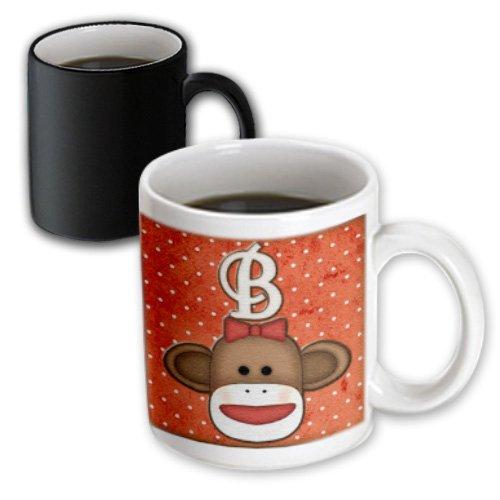 3dRose Cute Sock Monkey Girl Initial Letter B Magic Transforming Mug, 11-Ounce