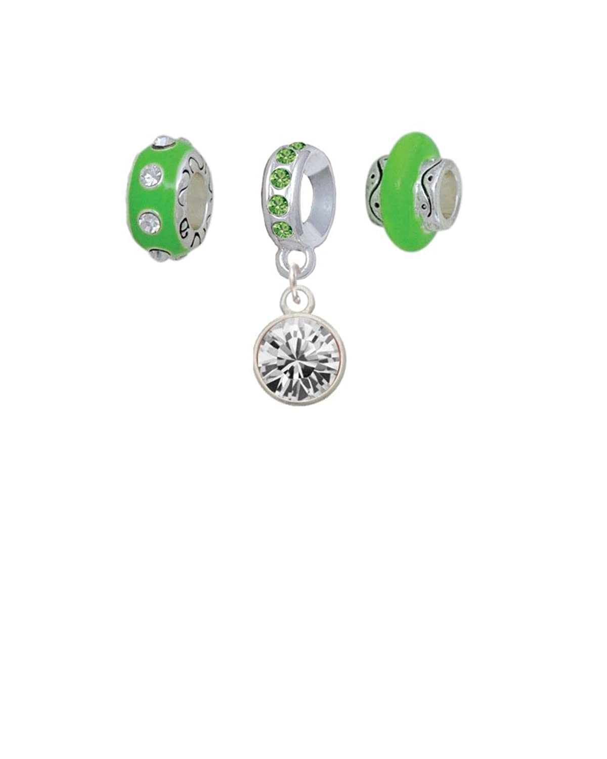 10mm Oktant Crystal Drop - Lime Green Charm Beads (Set of 3)