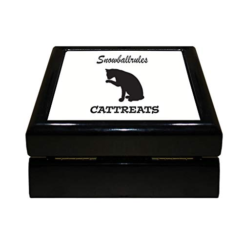 Style In Print Personalized Custom Text Cat Silhouette Snowballrules Wood Organizer Jewelry Box 4