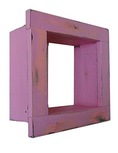 Square Wood / Wooden Shadow Box Display - 9'' x 9'' - Hot Pink - Decorative Reclaimed Distressed Vintage Appeal by IGC
