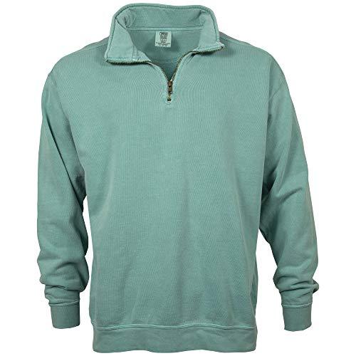 (Comfort Colors Men's Adult 1/4 Zip Sweatshirt, Style 1580, Seafoam, Medium)