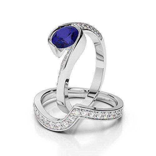G-H/VS 1CT Coupe ronde sertie de diamants Saphir et diamants blancs et bague de fiançailles en platine 950Agdr-2019