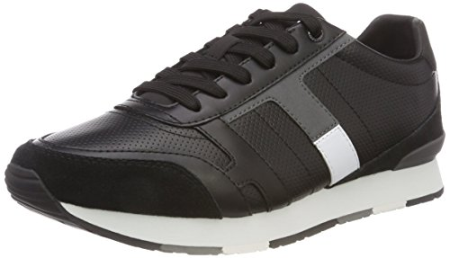 Mix Tommy Scarpe Basse Sneaker Hilfiger Corporate Black 990 Nero Ginnastica da Leather Uomo Rfwx6qS
