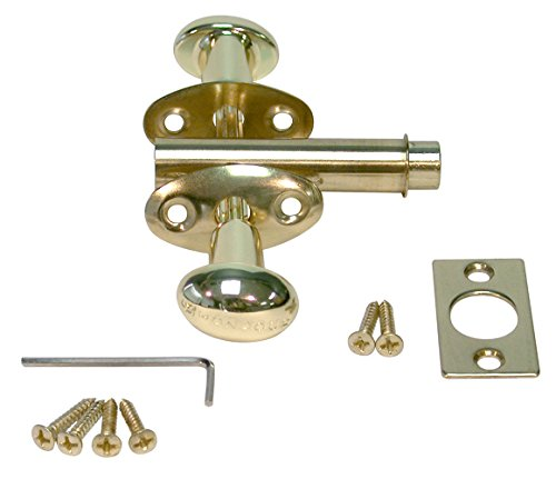 KidzLock Metal Child Safety Door Lock for Childproofing Hinged Doors, Polished Brass - Exit Lever