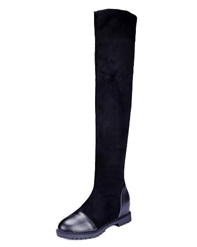 Easemax Damen Elegant Langschaft Nubuk Overknee Profilsohle Stiefel Schwarz 41 EU zNhUcHtR
