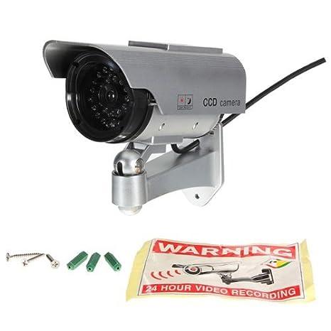 Cámara de seguridad LED falsa Well-Goal, funciona con energía solar, CCTV, CCD: Amazon.es: Electrónica
