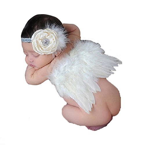 Angel wings Newborn Baby Photography Props Costume Photo Prop Outfit with Baby Girl Flower Headband (Cupid Bow And Feathers)