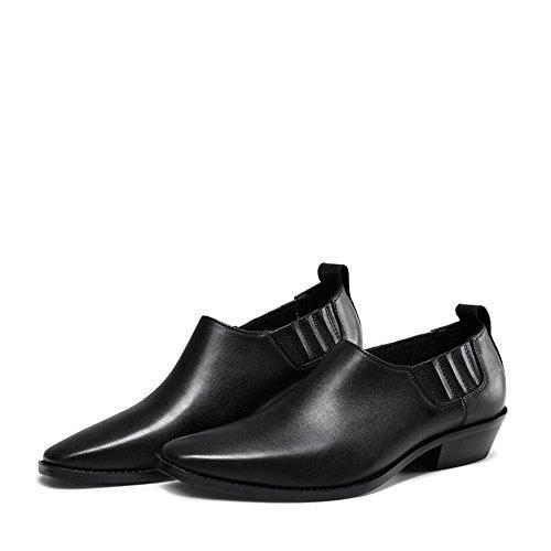 Jinfu Chelsea Bottes En Cuir Bout Pointu Noir Casual Chaussures Habillées Bottines Chaussures Formelles (us 7.5)