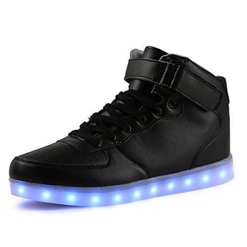 TULUO Kid & Men & Woman USB Charging LED 7 Colors Light High Top Sneakers Light shoes.Black 35 EU - 3 D(M) US