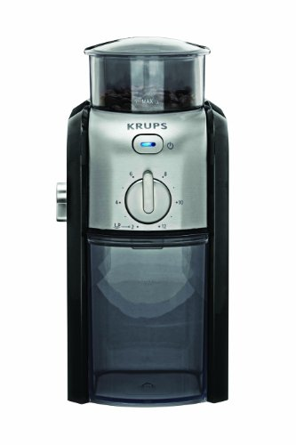 KRUPS GVX212 Coffee Grinder with Grind Size and Cup Selection and Stainless Steel Flat Burr Grinder, 8-Ounce, Black