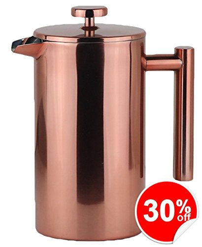 LA JOLIE MUSE French Press Coffee Maker with Copper Finish, 34 OZ Double Walled Insulated Stainless Steel, Stylish Design, Durable (Stainless Steel Insulated French Press)