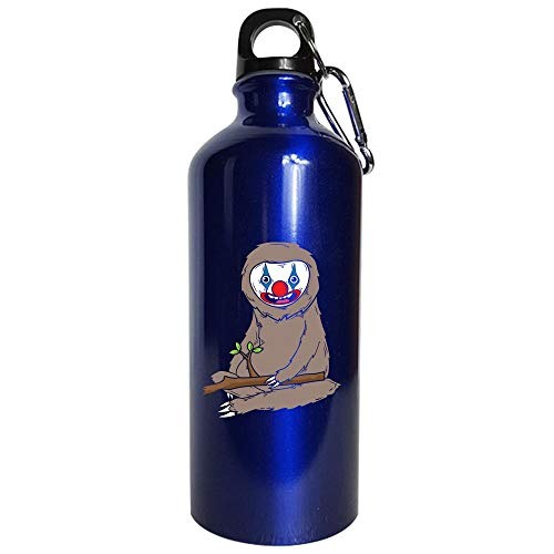 Sloth Wearing Scary Clown Makeup Cute Halloween Spooky Graphic Art Gift - Water Bottle Metallic Blue