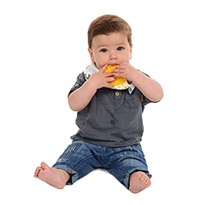 CB GO by Chewbeads Baby Cotton Drool Bib with 100% Silicone Teether - Hearts … : Baby