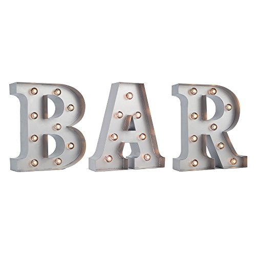 Fantado Silver Marquee Light BAR LED Metal Sign 8 Inch, Battery Operated w Timer by PaperLanternStore