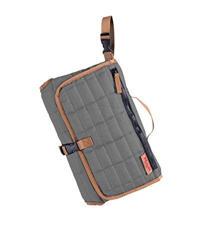 - MAMAN Portable Changing Pad Station - Waterproof Cushioned Diaper Changing Mat Organizer for Baby Boys and Girls (Light Grey)
