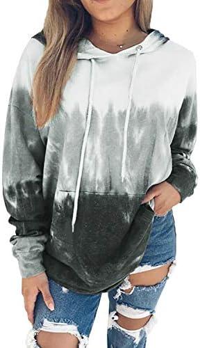 Eytino Women Hoodies Tops Tie Dye Printed Long Sleeve Drawstring Pullover Sweatshirts with Pocket(S-XXL)