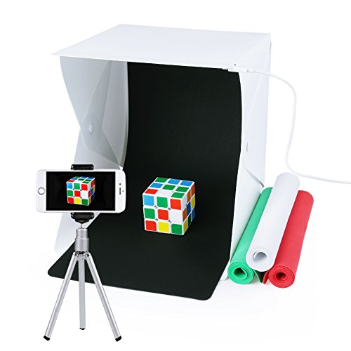 Portable Photo Studio,URiver Mini Folding Table Top LED Light Box and Photography Lighting Tent with 4 Backdrops Kit ( Size:9.5
