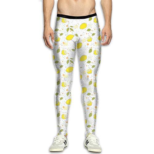 - Lemon On Modern Dotted Pattern Mens Compression Leggings Baselayer Cool Dry Running Long Pants for Men