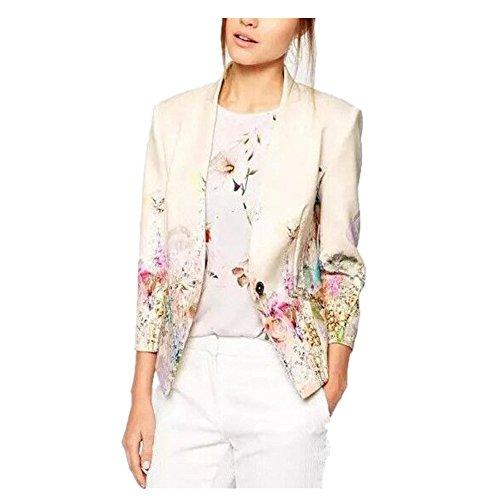 Enlishop Women's Fashion Vintage Floral Print Slim Casual Blazer Suit Jacket L