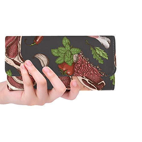 (Unique Custom Steak Meat Fried Delicious Food Idea Women Trifold Wallet Long Purse Credit Card Holder Case Handbag)